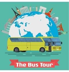 The bus tour of popular familiar landmarks vector