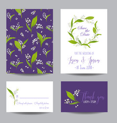 Wedding cards set with blossom lily flowers vector
