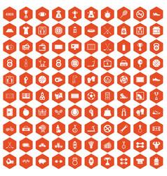 100 basketball icons hexagon orange vector