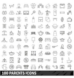 100 parents icons set outline style vector