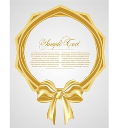 abstract background with gold bow vector image