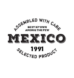 Assembled in mexico rubber stamp vector