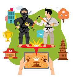 Abstract virtual combat mobile game flat vector