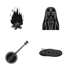 Bonfire turkish woman and other web icon in black vector