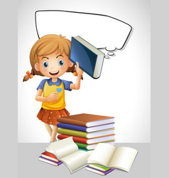 Girl reading book and bubble template vector