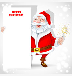 Cute santa claus holding banner and sparkler vector