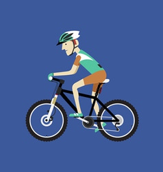 A biker riding a mountain bike vector image
