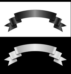 Black and white ribbon vector