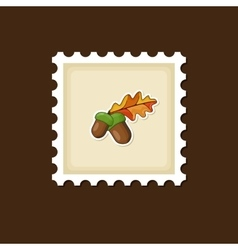 Acorn with leaf stamp harvest thanksgiving vector