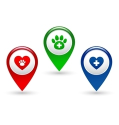 Pointer with paw heart and veterinary cross vector