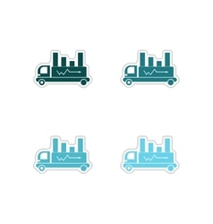 Set of paper stickers on white background car vector image