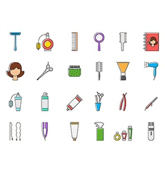 Barbershop colorful icons set vector