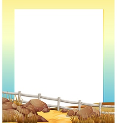 An empty paper with a fence and rocks at the vector image