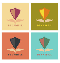 Assembly flat icons nature be careful hand shield vector