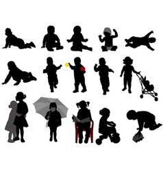 Babies and toddlers silhouettes vector