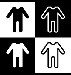 Baby clothes sign black and white icons vector
