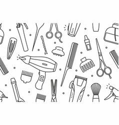 barber shop tools pattern vector image vector image