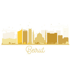 Beirut city skyline golden silhouette vector