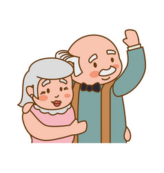 Couple elder adults hug gesture vector