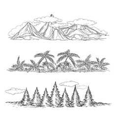 Doodle hand drawn landscapes vector