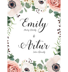 floral wedding invitation invite elegant card vector image vector image