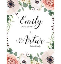 floral wedding invitation invite elegant card vector image