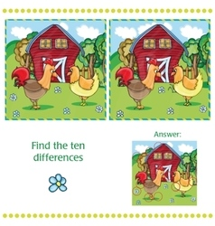 Game for children - find ten differences vector image vector image