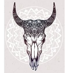 Hand drawn romantic style ornate bull skull vector image vector image