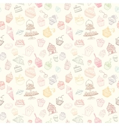 Hand-drawn seamless cupcake pattern vector image