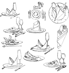 Hand drawn set of tableware vector