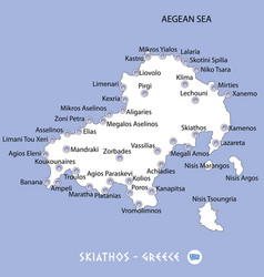 Island of skiathos in greece white map and blue vector