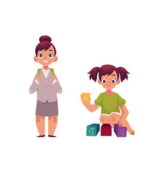 little girl going to school playing with blocks vector image vector image