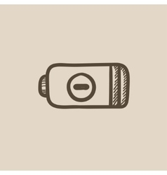 Low power battery sketch icon vector image