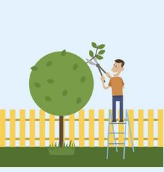 Man in the garden cuts wood vector