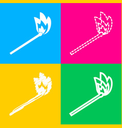 Match sign four styles of icon on vector
