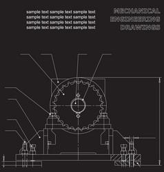 Mechanical engineering drawings on a black vector