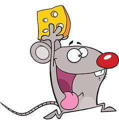 Mouse running with cheese vector