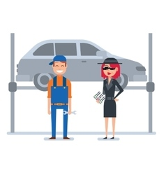 Mystery shopper woman in spy coat checks car vector