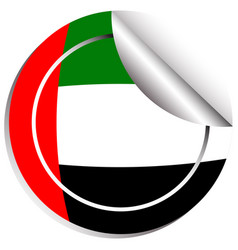 Round sticker design for flag of arab emirates vector