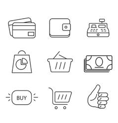 Shopping 9 thin icons set vector image