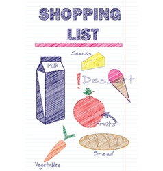 Shopping list template with food vector