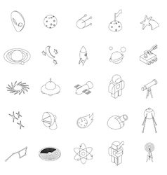 Space icons set isometric 3d style vector image