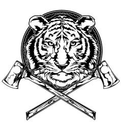 Tiger and axes vector