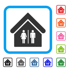 Toilet building framed icon vector