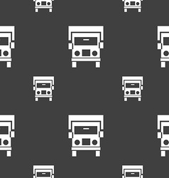 Truck icon sign Seamless pattern on a gray vector image