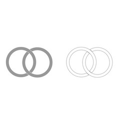 Two bonded wedding rings the grey set icon vector