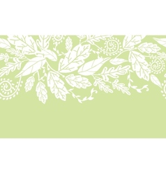 White flowers and leaves horizontal seamless vector image