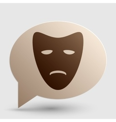 Tragedy theatrical masks brown gradient icon on vector