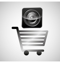 Shiny shopping cart sound speaker online commerce vector