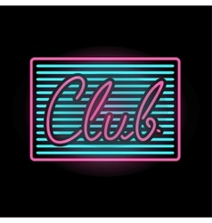 Light neon club label vector
